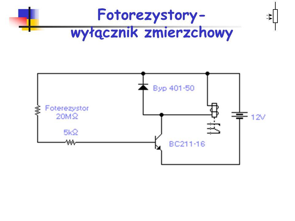 Fotorezystory wykorzystuje się do: pomiarów małych natężeń oświetlenia, bezpośredniego sterowania przekaźników (automatyczne włączanie lamp w nocy), p