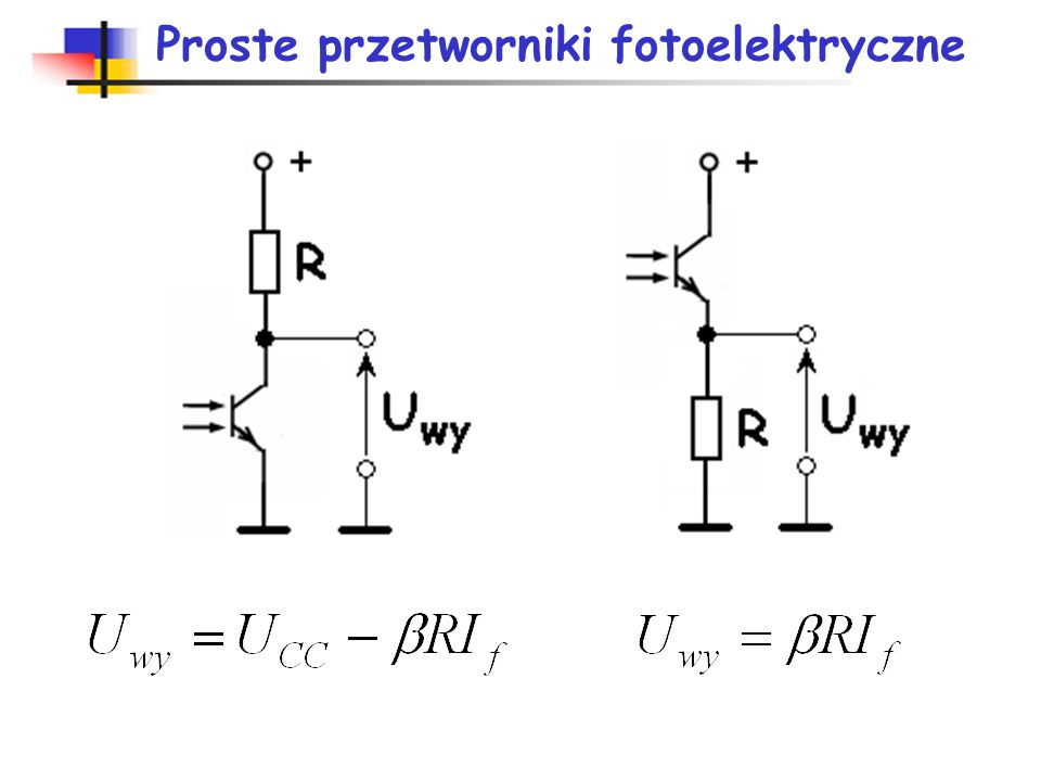 Właściwości fototranzystorów Zalety: duża czułość dzięki wzmocnieniu prądu fotoelekrycznego, możliwość sterowania elektrycznego i świetlnego. Wada-nis