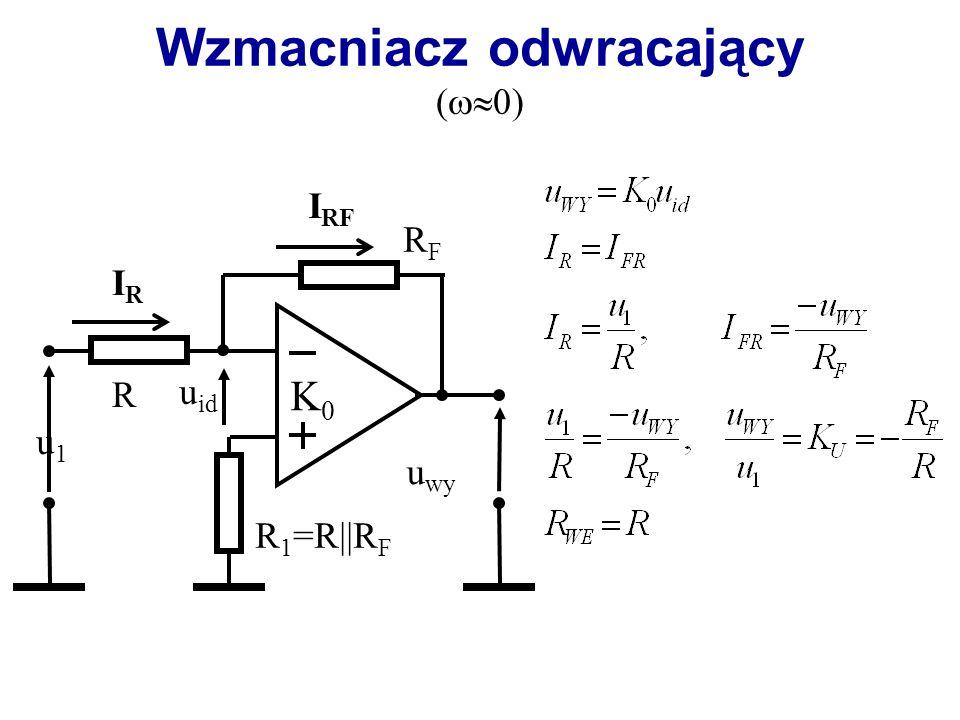 Podstawowe parametry wzmacniacza operacyjnego (idealnego) nieskończona wartość impedancji wejściowej R we = nieskończona wartość wzmocnienia różnicowego A r = zerowa wartość impedancji wyjściowej R wy = 0 nieskończone pasmo przenoszonych częstotliwości brak zjawisk niepożądanych (niestabilność, niezależność od zmian napięcia zasilania, itp.)