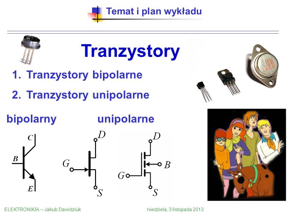 Temat i plan wykładu Tranzystory 1.Tranzystory bipolarne 2.Tranzystory unipolarne ELEKTRONIKIA – Jakub Dawidziuk niedziela, 3 listopada 2013 bipolarnyunipolarne