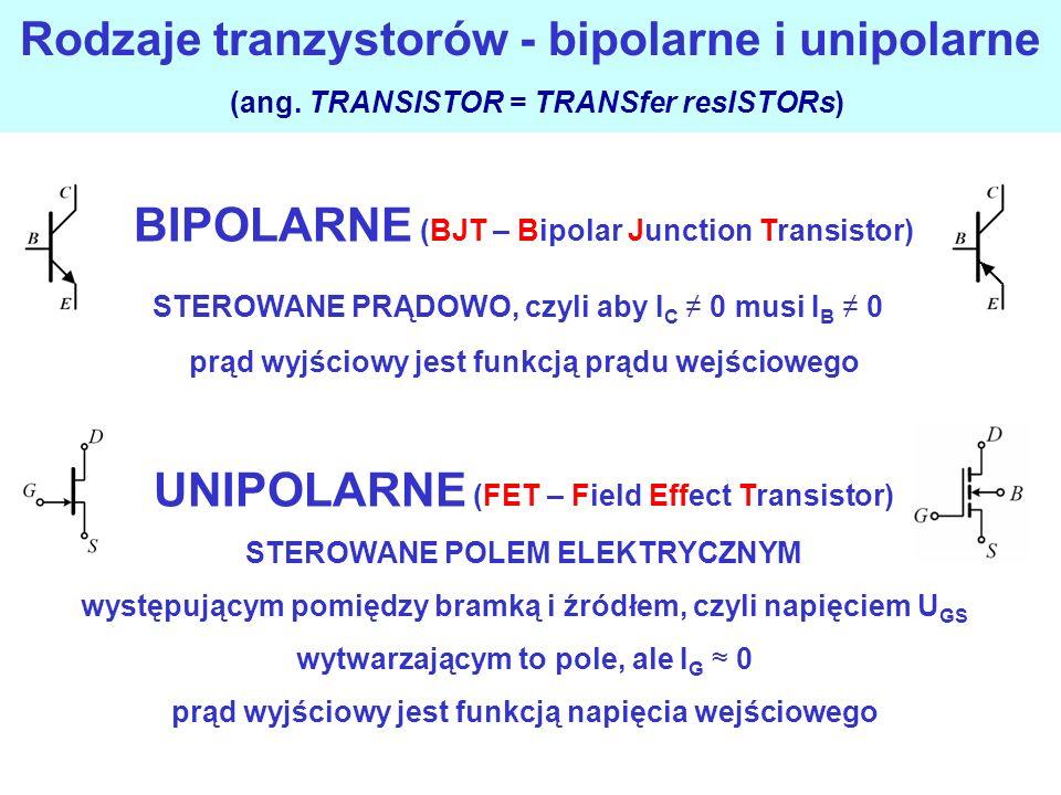 Rodzaje tranzystorów - bipolarne i unipolarne (ang.