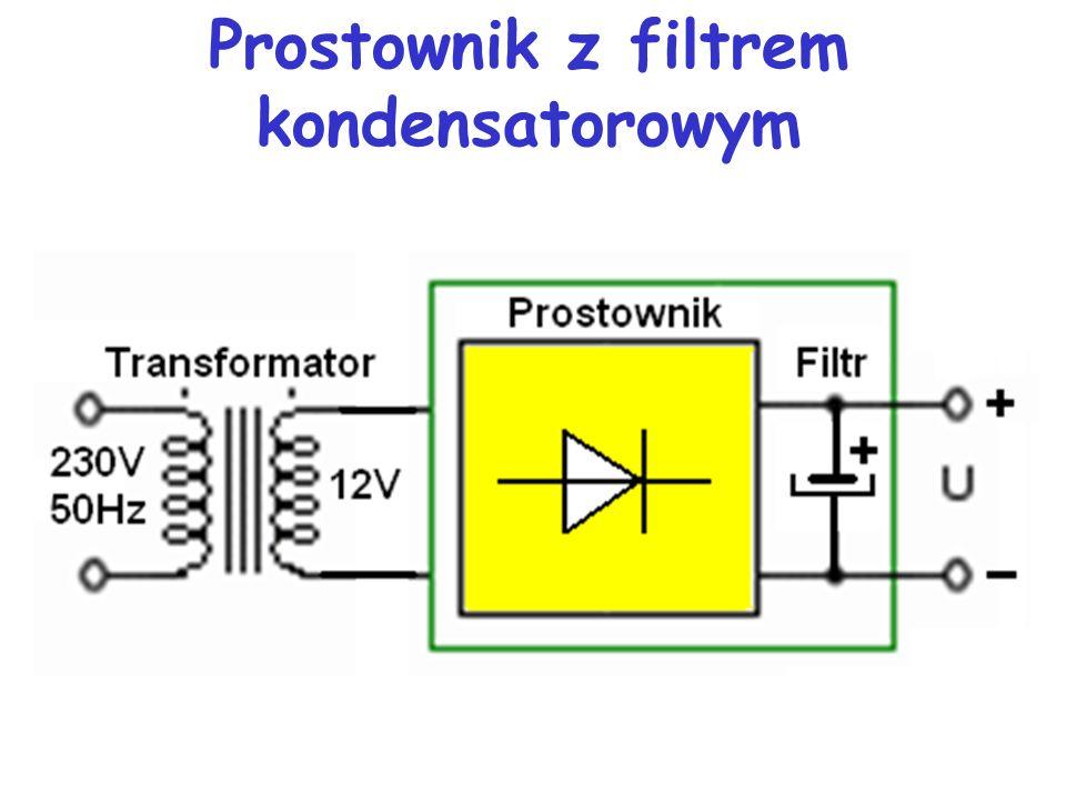 Zasilacz napięcia (prądu) stałego - transformatorowy, zbudowany jest z: transformatora zmieniającego napięcie zasilające (np. 230 V) na żądane napięci