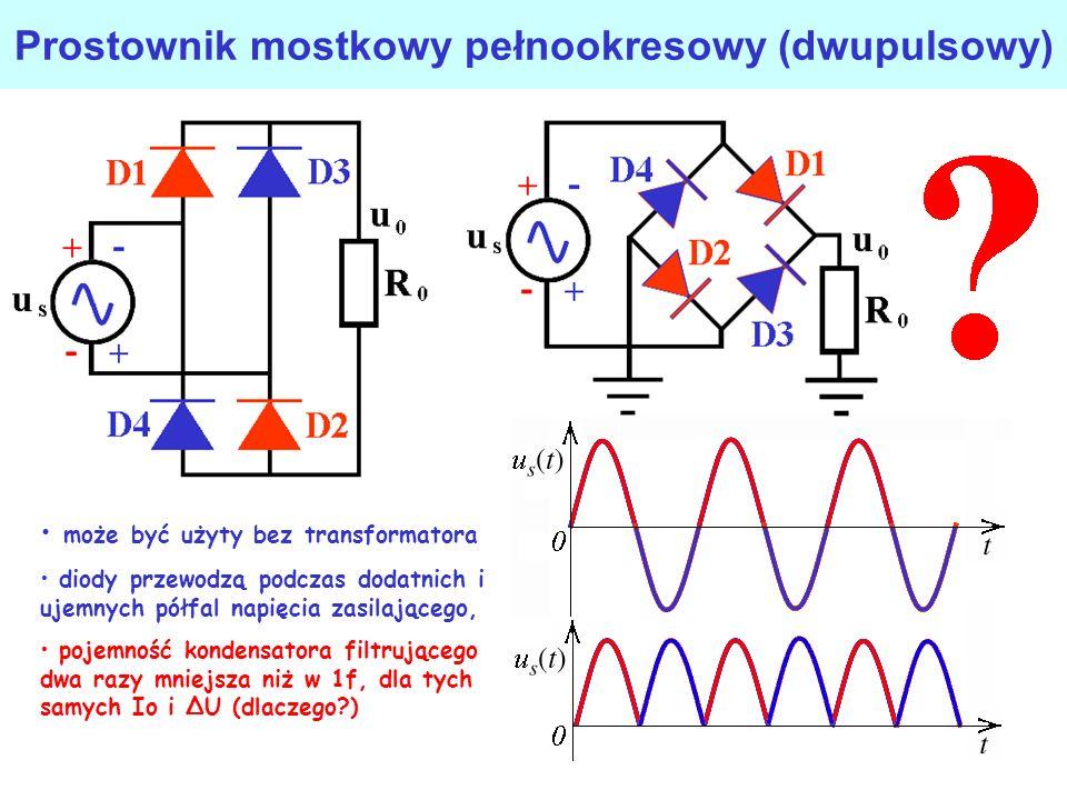 Ładowanie baterii z prostownika jednopołówkowego dioda przewodzi jeżeli wartości chwilowe napięcia wejściowego przekroczą napięcie baterii, dioda jest