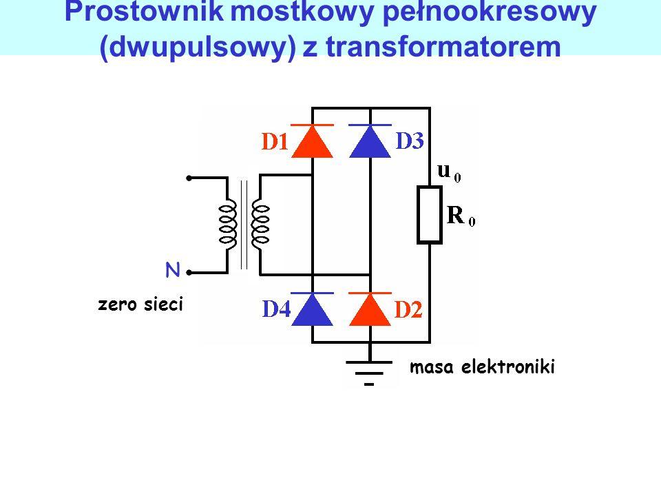 Prostownik mostkowy pełnookresowy (dwupulsowy) może być użyty bez transformatora diody przewodzą podczas dodatnich i ujemnych półfal napięcia zasilają