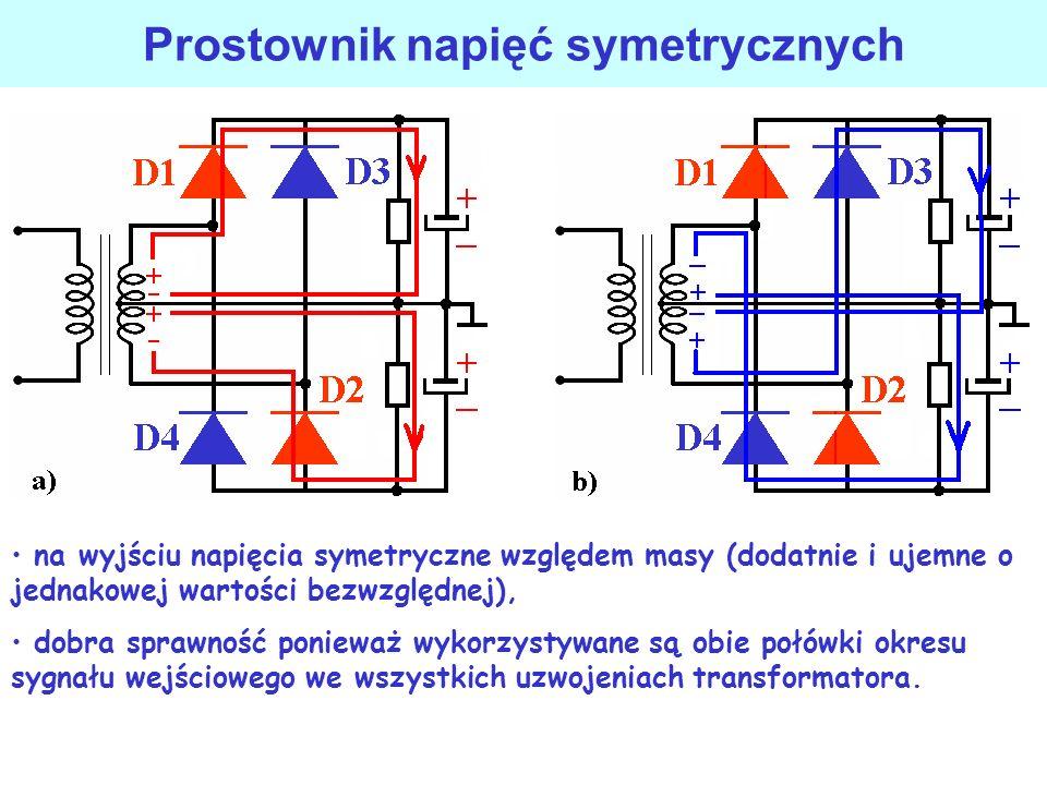 Prostownik mostkowy pełnookresowy (dwupulsowy) z transformatorem masa elektroniki zero sieci N
