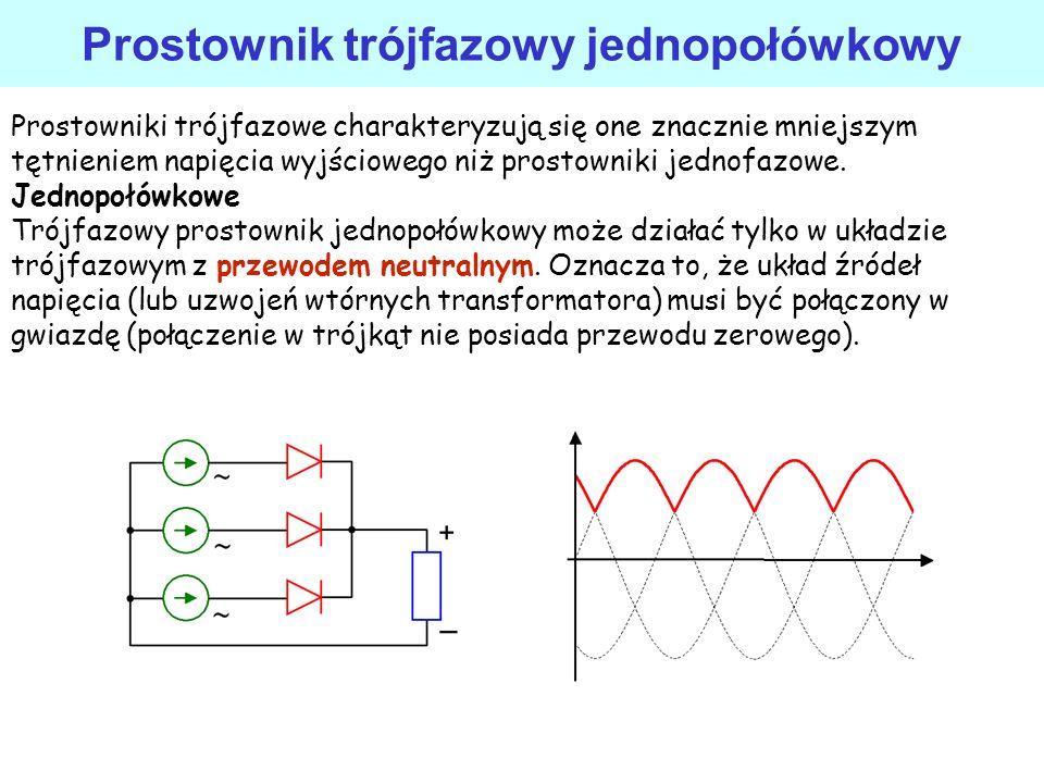 Prostownik napięć symetrycznych na wyjściu napięcia symetryczne względem masy (dodatnie i ujemne o jednakowej wartości bezwzględnej), dobra sprawność