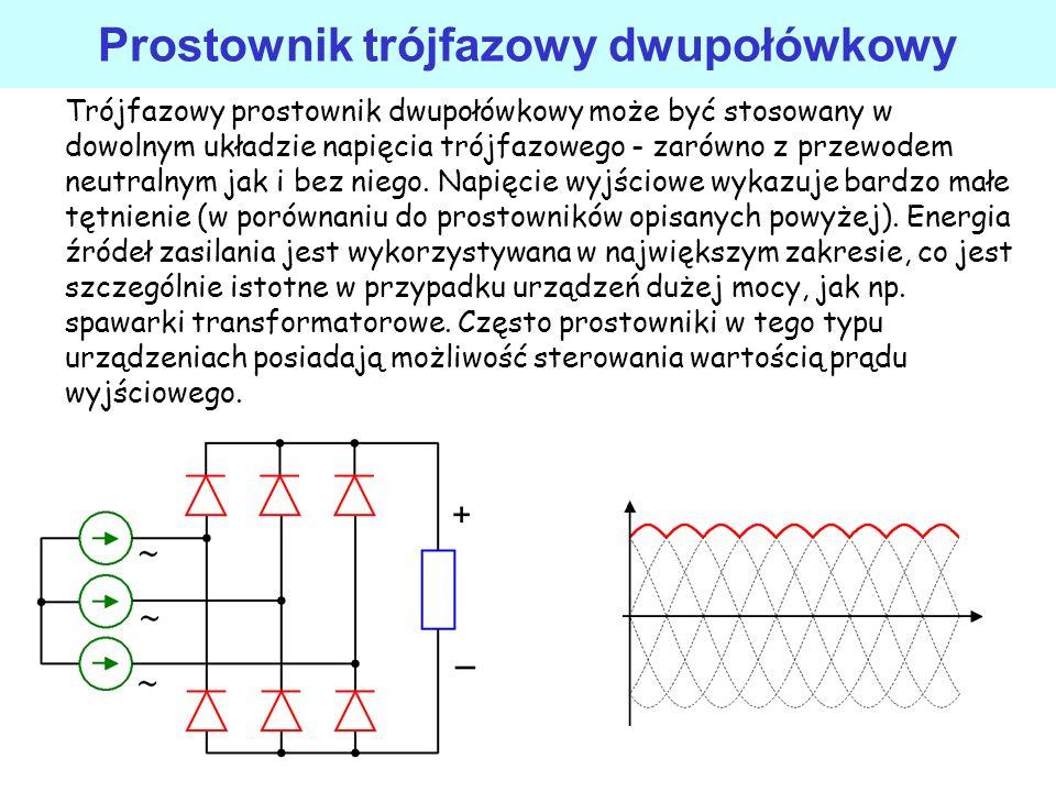 Prostownik trójfazowy jednopołówkowy Prostowniki trójfazowe charakteryzują się one znacznie mniejszym tętnieniem napięcia wyjściowego niż prostowniki