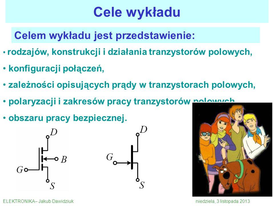 Celem wykładu jest przedstawienie: rodzajów, konstrukcji i działania tranzystorów polowych, konfiguracji połączeń, zależności opisujących prądy w tran