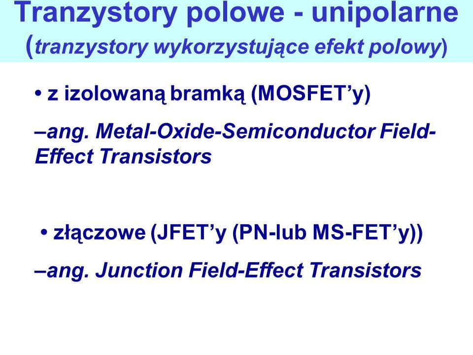 Tranzystory polowe - unipolarne ( tranzystory wykorzystujące efekt polowy) z izolowaną bramką (MOSFETy) –ang. Metal-Oxide-Semiconductor Field- Effect