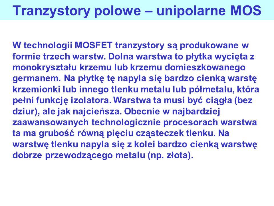 Tranzystory polowe – unipolarne MOS W technologii MOSFET tranzystory są produkowane w formie trzech warstw. Dolna warstwa to płytka wycięta z monokrys