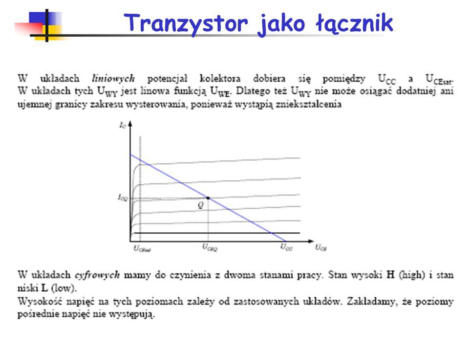 Napięcie zasilające +5V (+4,75V do +5,25V), sygnał wyjściowy: H > 2,4V L < 0,4V, sygnał wejściowy: H > 2,0V L < 0,8V, obciążalność 10 – 48, współczynnik dobroci: D=t p P; 5-100 [pJ], maksymalna częstotliwość pracy: TTL (25 MHz), TTL-S (125 MHz) diody Schottky ego 2x pobór mocy, TTL-LS (33 MHz) trochę mniejszy pobór mocy, TTL-F (150 MHz), TTL-AS (200 MHz) 10x mniejszy pobór mocy w stosunku do TTL, TTL-ALS (50 MHz).