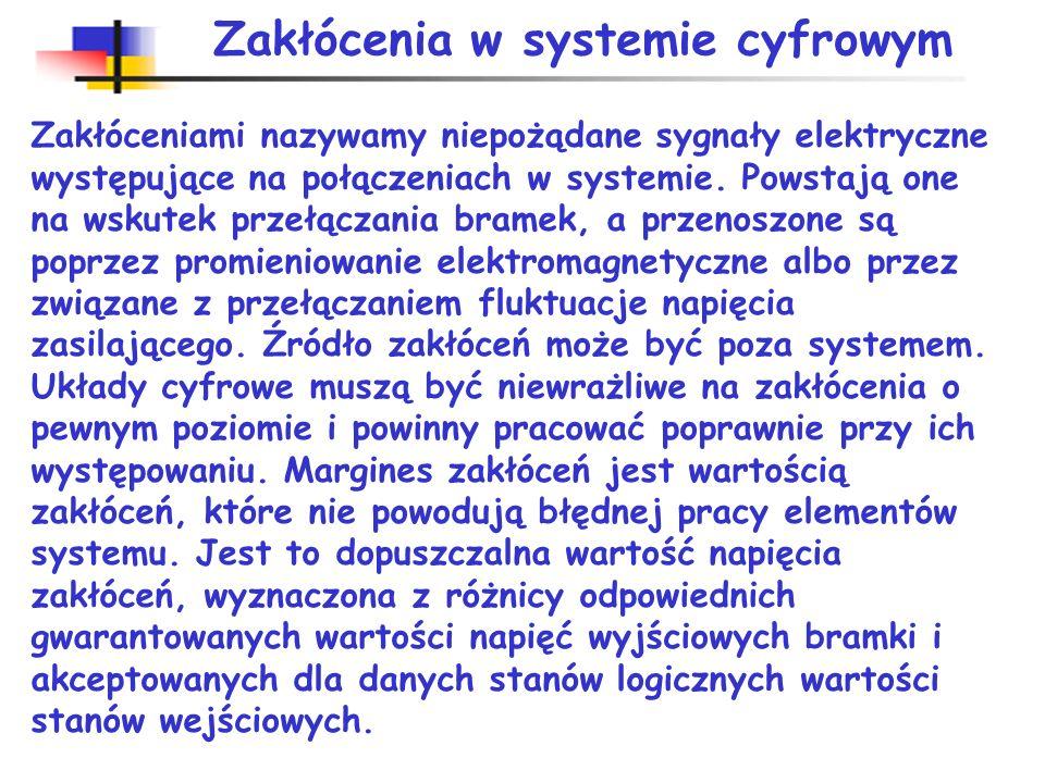Zakłócenia w systemie cyfrowym Zakłóceniami nazywamy niepożądane sygnały elektryczne występujące na połączeniach w systemie.