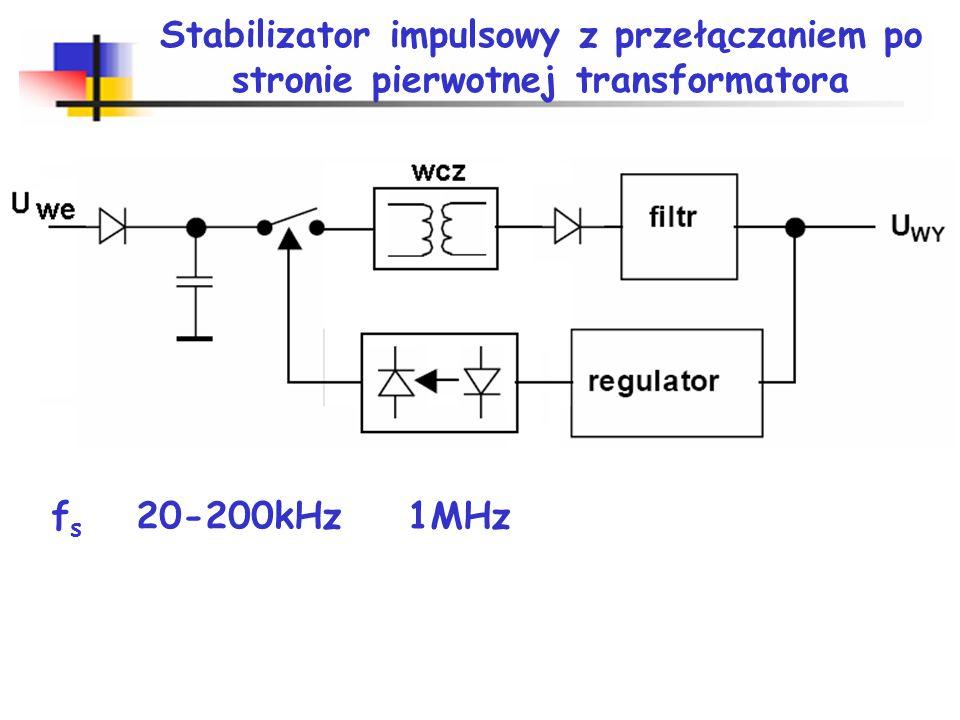 Podstawowe rodzaje przekształtników Przekształtniki (regulatory) prądu stałego DC/DC (DC/DC converter) przekształtnik obniżający napięcie (down converter, buck converter, buck regulator), przekształtnik podwyższający napięcie (step-up converter, boost converter, boost regulator), przekształtnik odwracający napięcie (inverting converter, inverting regulator).