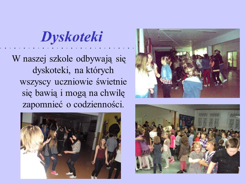 Dyskoteki W naszej szkole odbywają się dyskoteki, na których wszyscy uczniowie świetnie się bawią i mogą na chwilę zapomnieć o codzienności.