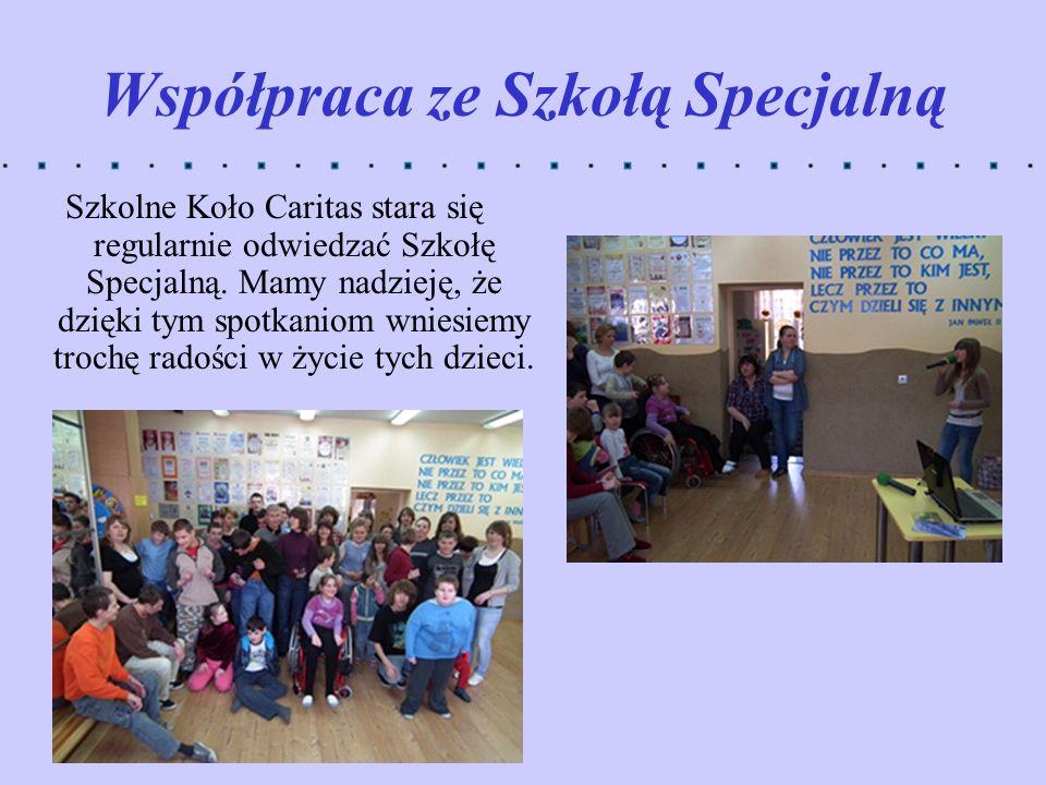 Współpraca ze Szkołą Specjalną Szkolne Koło Caritas stara się regularnie odwiedzać Szkołę Specjalną. Mamy nadzieję, że dzięki tym spotkaniom wniesiemy
