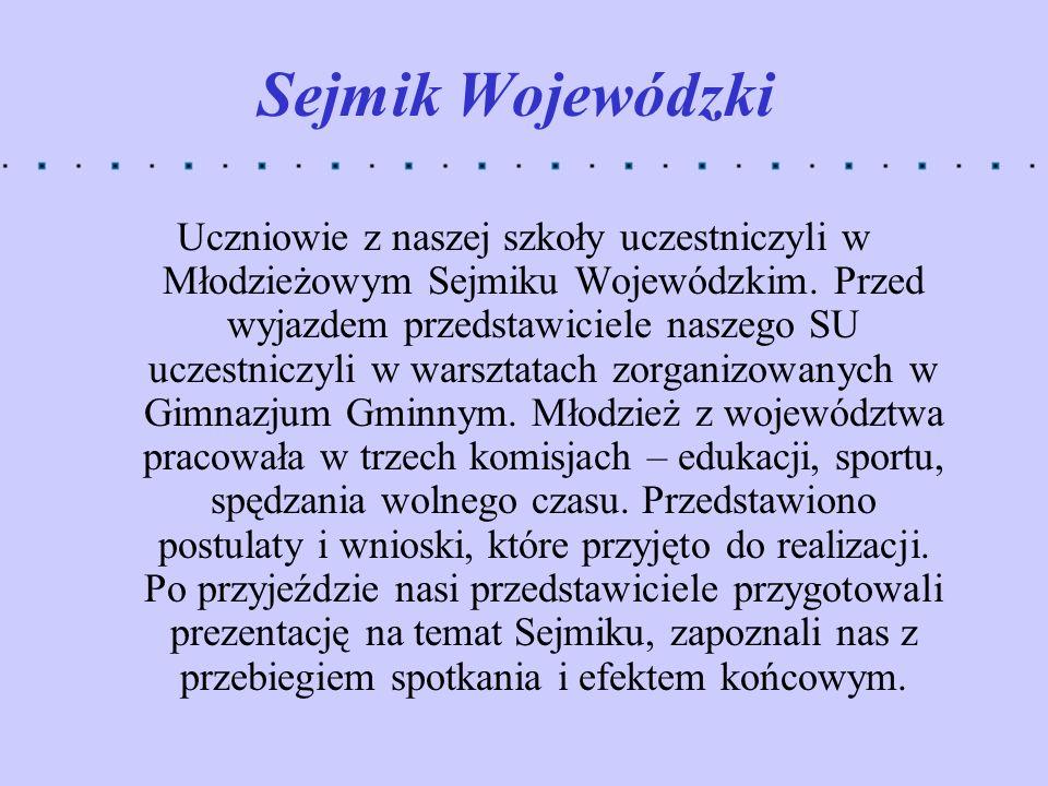 Sejmik Wojewódzki Uczniowie z naszej szkoły uczestniczyli w Młodzieżowym Sejmiku Wojewódzkim. Przed wyjazdem przedstawiciele naszego SU uczestniczyli