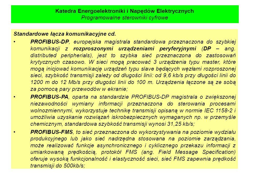 Katedra Energoelektroniki i Napędów Elektrycznych Programowalne sterowniki cyfrowe Standardowe łącza komunikacyjne cd. PROFIBUS-DP, europejska magistr
