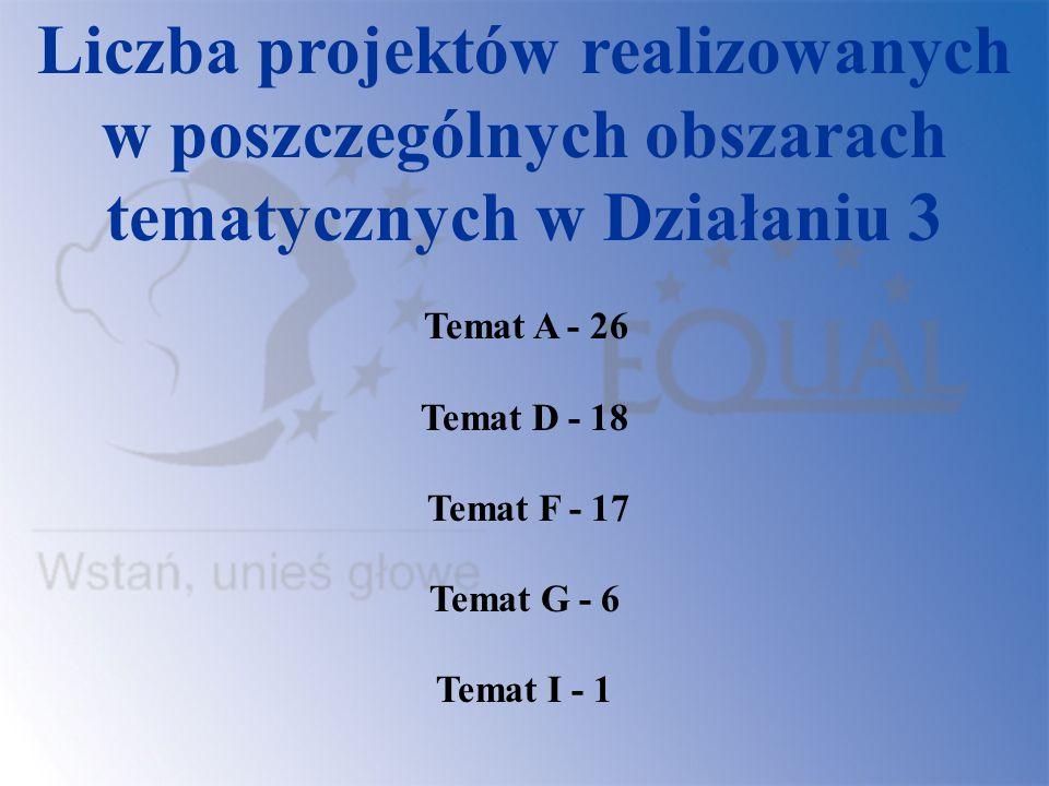 Liczba projektów realizowanych w poszczególnych obszarach tematycznych w Działaniu 3 Temat A - 26 Temat D - 18 Temat F - 17 Temat G - 6 Temat I - 1