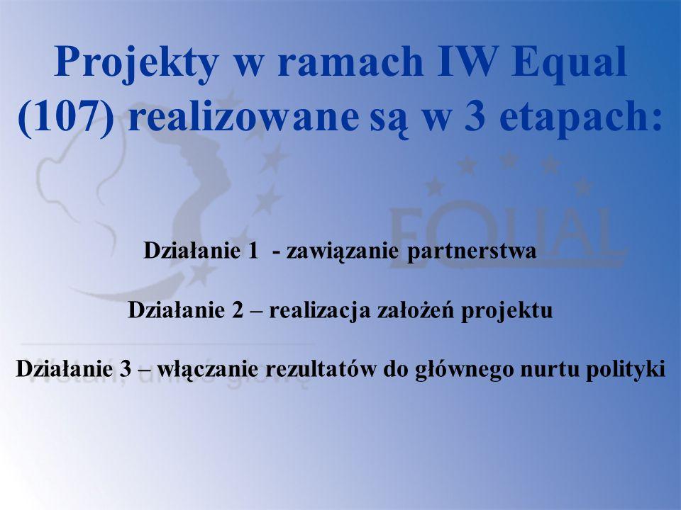 Projekty w ramach IW Equal (107) realizowane są w 3 etapach: Działanie 1 - zawiązanie partnerstwa Działanie 2 – realizacja założeń projektu Działanie