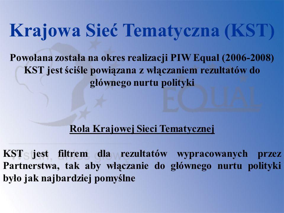 Skład Krajowych Sieci Tematycznych: Przedstawiciele Partnerstw na rzecz Rozwoju (107) Przedstawiciele KSW/ IZ Equal Eksperci W Polsce powołano KST w ramach 5 obszarów tematycznych