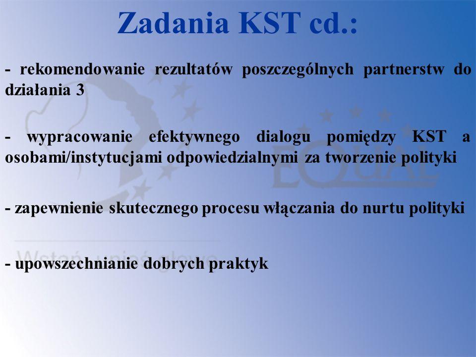Zadania KST cd.: - rekomendowanie rezultatów poszczególnych partnerstw do działania 3 - wypracowanie efektywnego dialogu pomiędzy KST a osobami/instyt