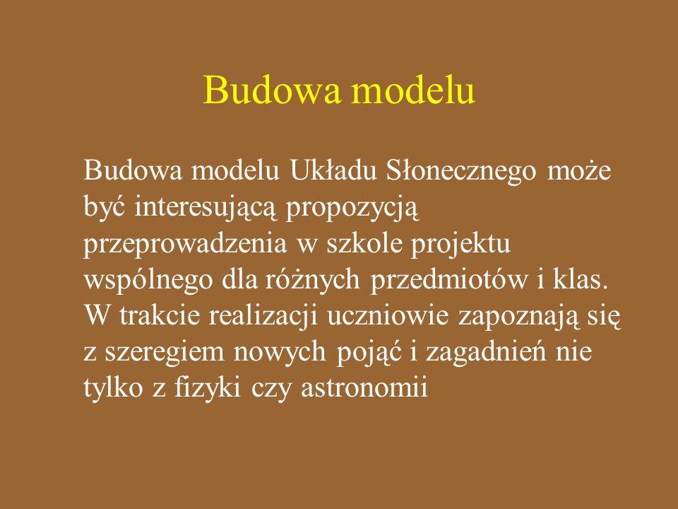 Budowa modelu Budowa modelu Układu Słonecznego może być interesującą propozycją przeprowadzenia w szkole projektu wspólnego dla różnych przedmiotów i