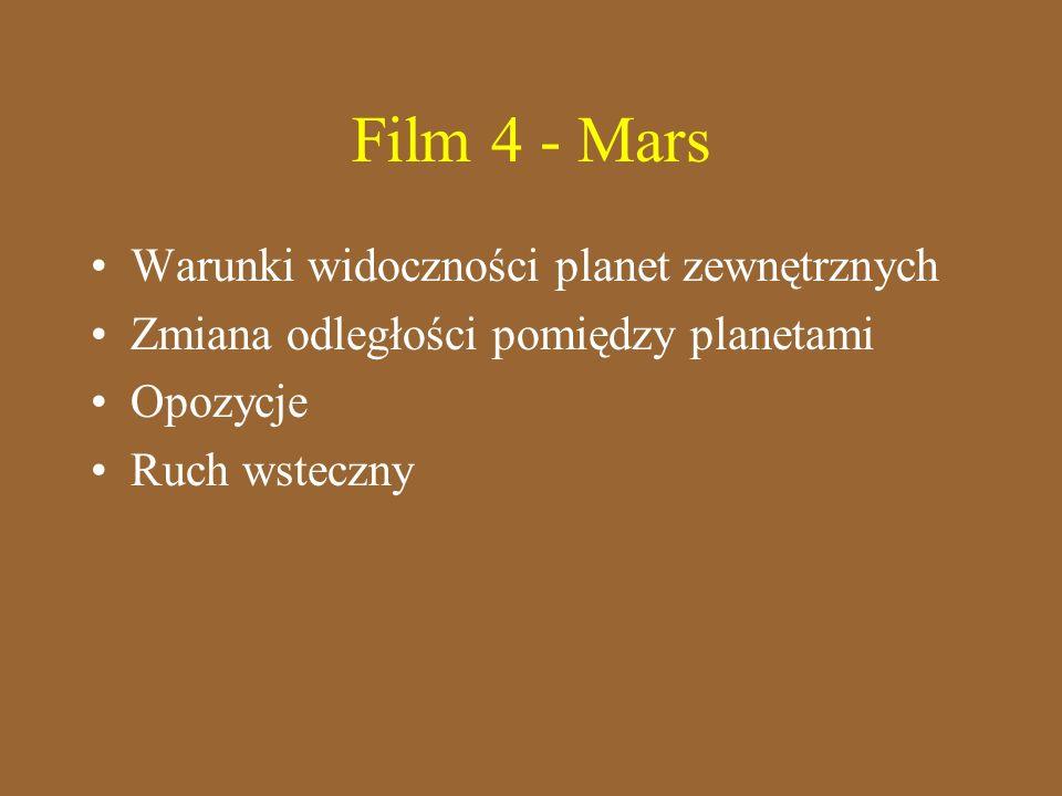 Film 4 - Mars Warunki widoczności planet zewnętrznych Zmiana odległości pomiędzy planetami Opozycje Ruch wsteczny