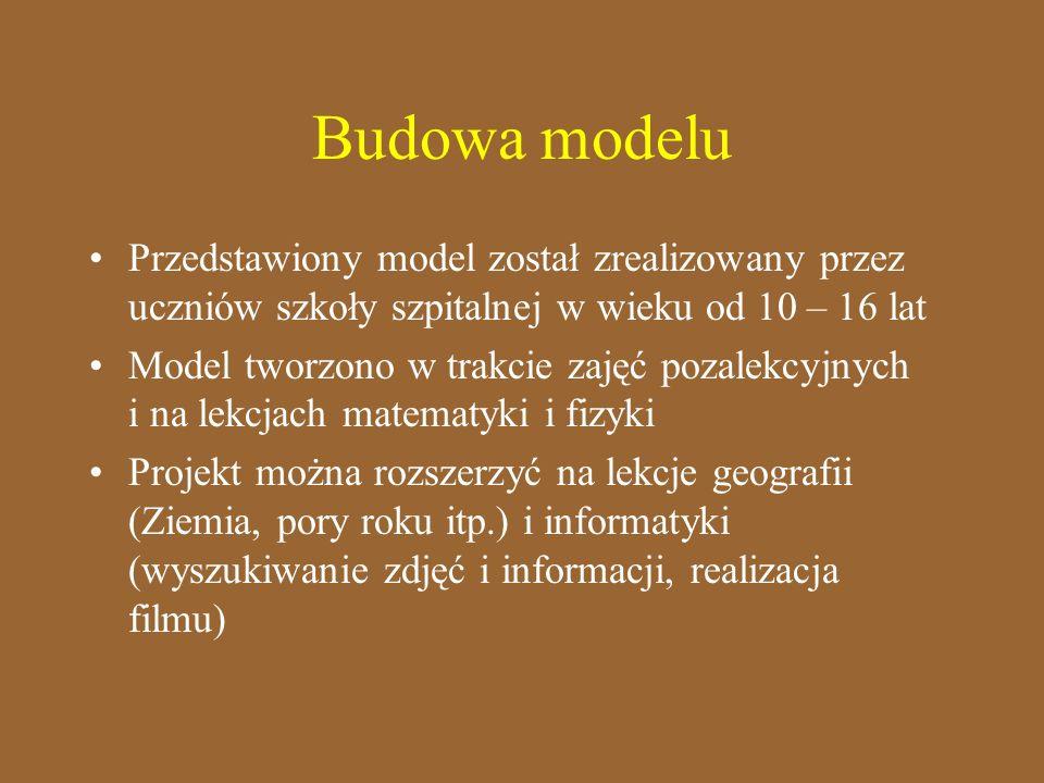 Budowa modelu Przedstawiony model został zrealizowany przez uczniów szkoły szpitalnej w wieku od 10 – 16 lat Model tworzono w trakcie zajęć pozalekcyj