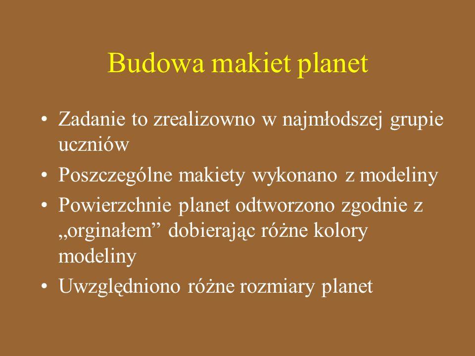 Budowa makiet planet Zadanie to zrealizowno w najmłodszej grupie uczniów Poszczególne makiety wykonano z modeliny Powierzchnie planet odtworzono zgodn