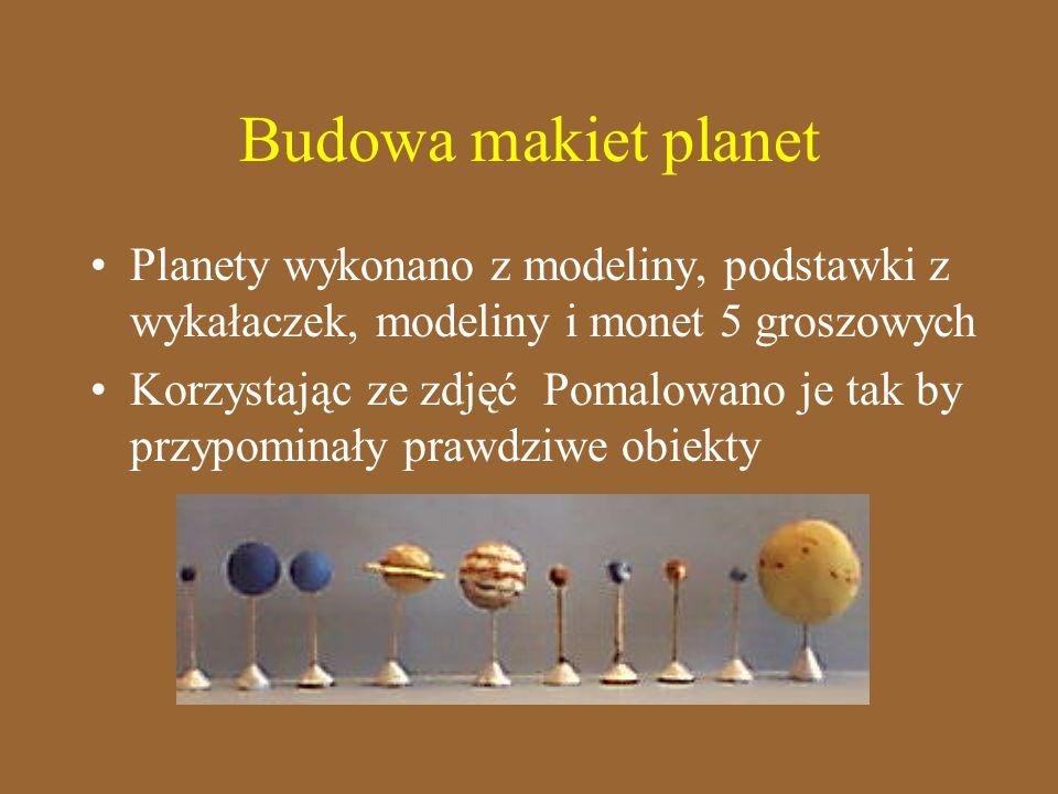 Planety wykonano z modeliny, podstawki z wykałaczek, modeliny i monet 5 groszowych Korzystając ze zdjęć Pomalowano je tak by przypominały prawdziwe ob