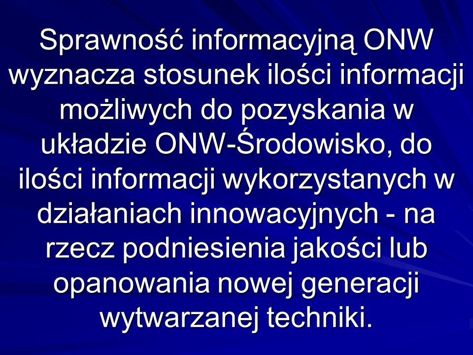 Sprawność informacyjną ONW wyznacza stosunek ilości informacji możliwych do pozyskania w układzie ONW-Środowisko, do ilości informacji wykorzystanych