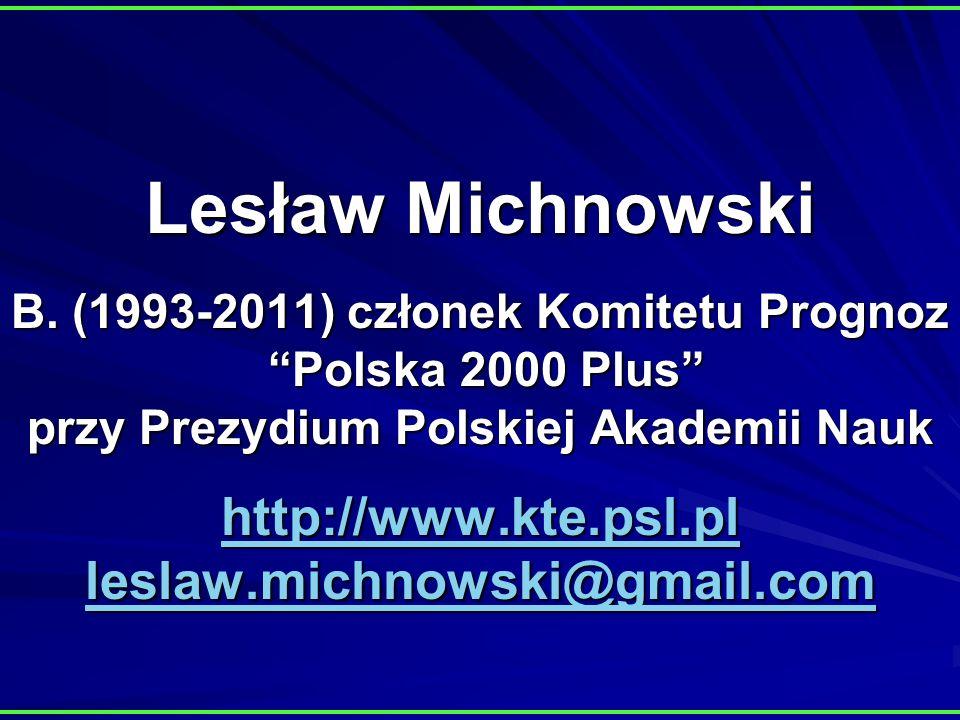 Lesław Michnowski B. (1993-2011) członek Komitetu Prognoz Polska 2000 Plus przy Prezydium Polskiej Akademii Nauk http://www.kte.psl.pl leslaw.michnows