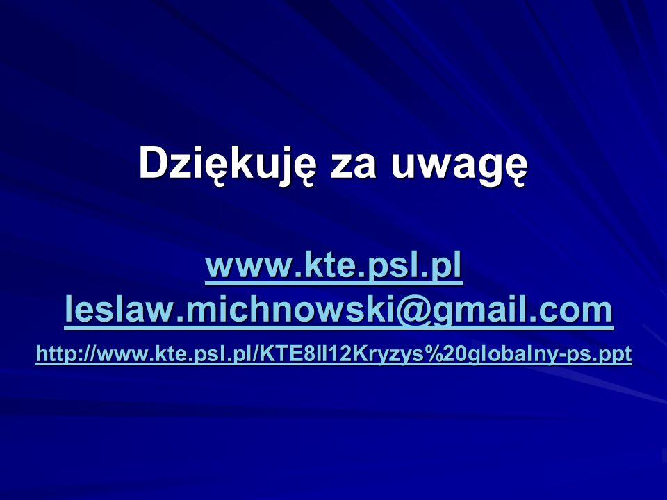 Dziękuję za uwagę www.kte.psl.pl leslaw.michnowski@gmail.com http://www.kte.psl.pl/KTE8II12Kryzys%20globalny-ps.ppt www.kte.psl.plleslaw.michnowski@gm