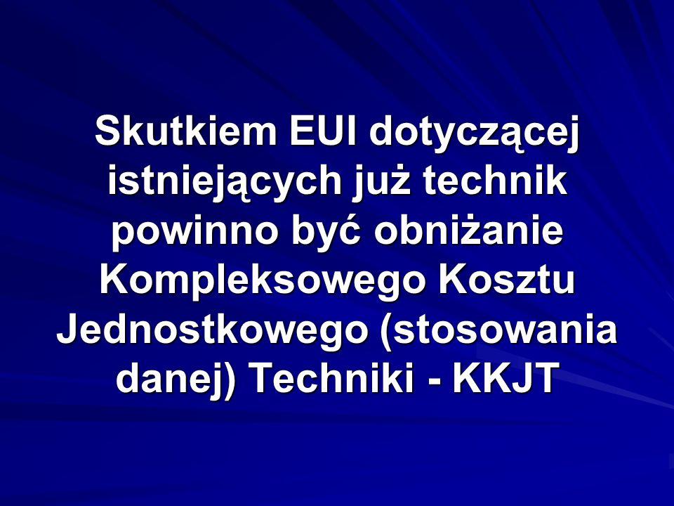 Skutkiem EUI dotyczącej istniejących już technik powinno być obniżanie Kompleksowego Kosztu Jednostkowego (stosowania danej) Techniki - KKJT
