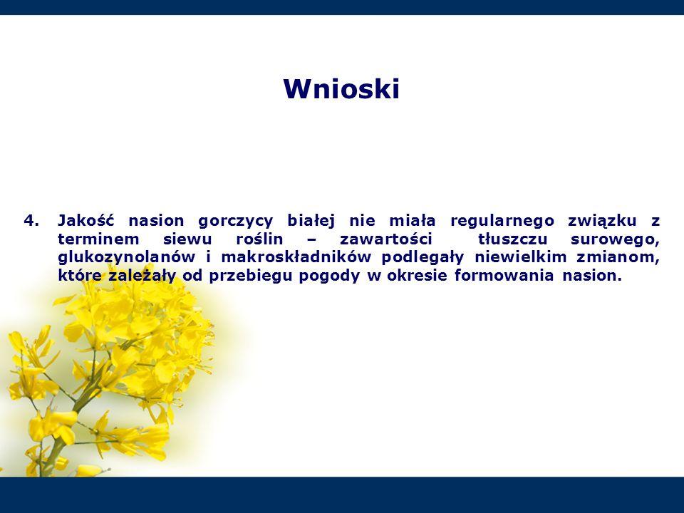 4.Jakość nasion gorczycy białej nie miała regularnego związku z terminem siewu roślin – zawartości tłuszczu surowego, glukozynolanów i makroskładników