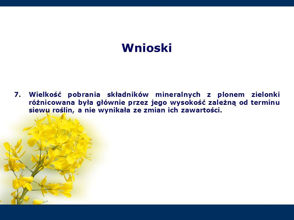 Wnioski 7.Wielkość pobrania składników mineralnych z plonem zielonki różnicowana była głównie przez jego wysokość zależną od terminu siewu roślin, a n