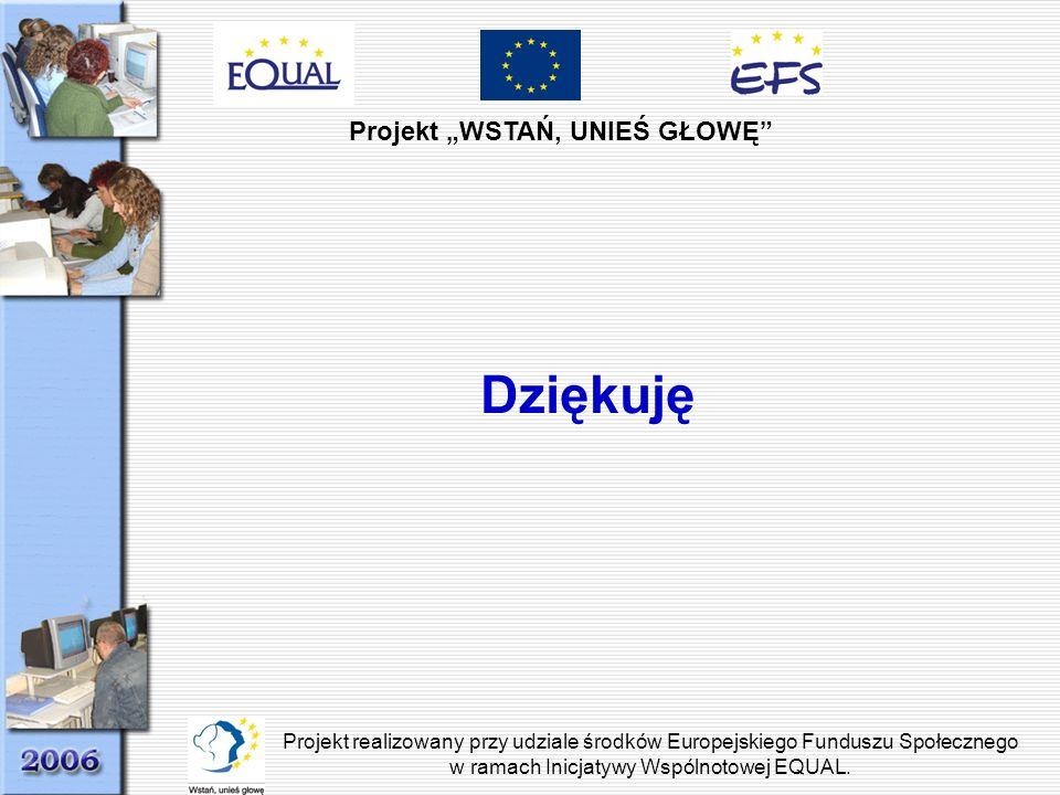 Projekt WSTAŃ, UNIEŚ GŁOWĘ Projekt realizowany przy udziale środków Europejskiego Funduszu Społecznego w ramach Inicjatywy Wspólnotowej EQUAL. Dziękuj