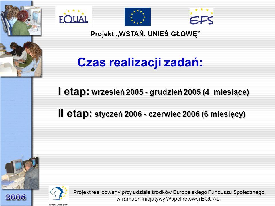 Projekt WSTAŃ, UNIEŚ GŁOWĘ Projekt realizowany przy udziale środków Europejskiego Funduszu Społecznego w ramach Inicjatywy Wspólnotowej EQUAL. Czas re