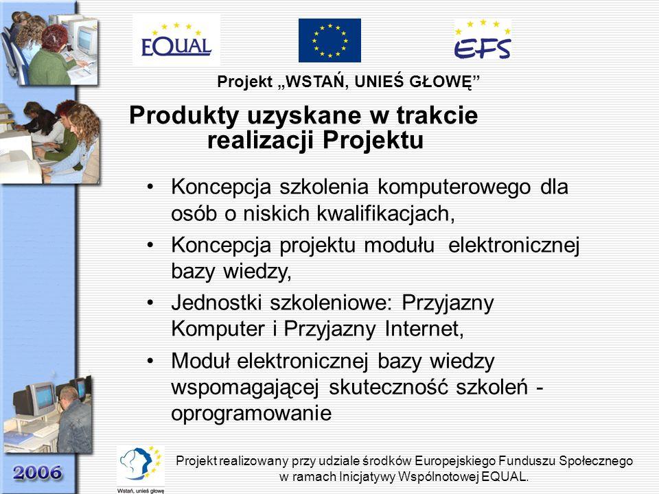 Projekt WSTAŃ, UNIEŚ GŁOWĘ Projekt realizowany przy udziale środków Europejskiego Funduszu Społecznego w ramach Inicjatywy Wspólnotowej EQUAL. Produkt