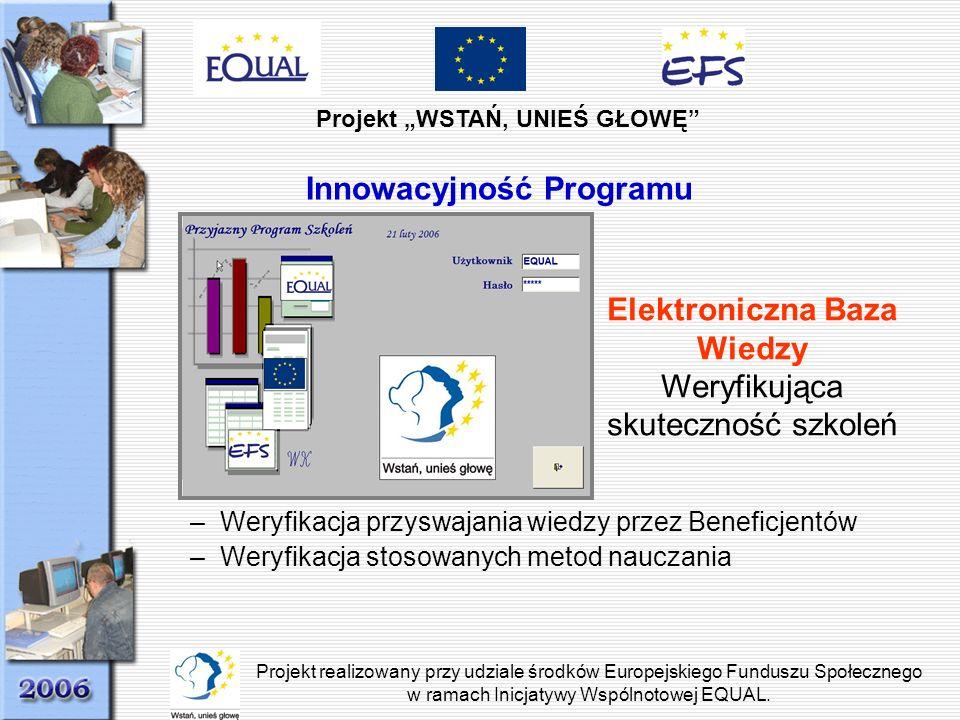 Projekt WSTAŃ, UNIEŚ GŁOWĘ Projekt realizowany przy udziale środków Europejskiego Funduszu Społecznego w ramach Inicjatywy Wspólnotowej EQUAL. Innowac