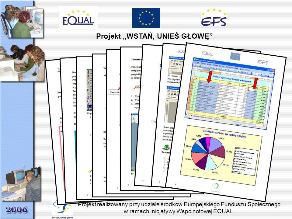 Projekt WSTAŃ, UNIEŚ GŁOWĘ Projekt realizowany przy udziale środków Europejskiego Funduszu Społecznego w ramach Inicjatywy Wspólnotowej EQUAL.