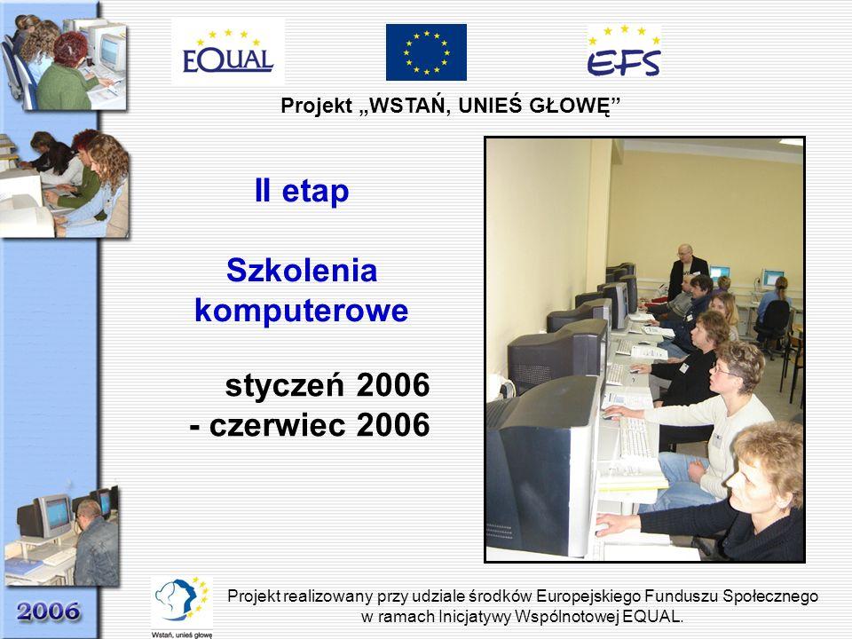 Projekt WSTAŃ, UNIEŚ GŁOWĘ Projekt realizowany przy udziale środków Europejskiego Funduszu Społecznego w ramach Inicjatywy Wspólnotowej EQUAL. II etap
