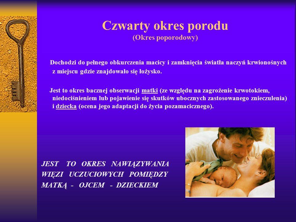 Czwarty okres porodu (Okres poporodowy) Dochodzi do pełnego obkurczenia macicy i zamknięcia światła naczyń krwionośnych z miejscu gdzie znajdowało się