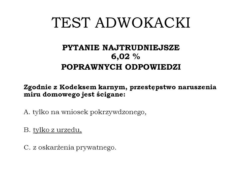 TEST NOTARIALNY PYTANIE NAJTRUDNIEJSZE 11,76% POPRAWNYCH ODPOWIEDZI Zgodnie z ustawą o Krajowej Radzie Sądownictwa, osoba powołana do jej składu przez Prezydenta Rzeczypospolitej: A.