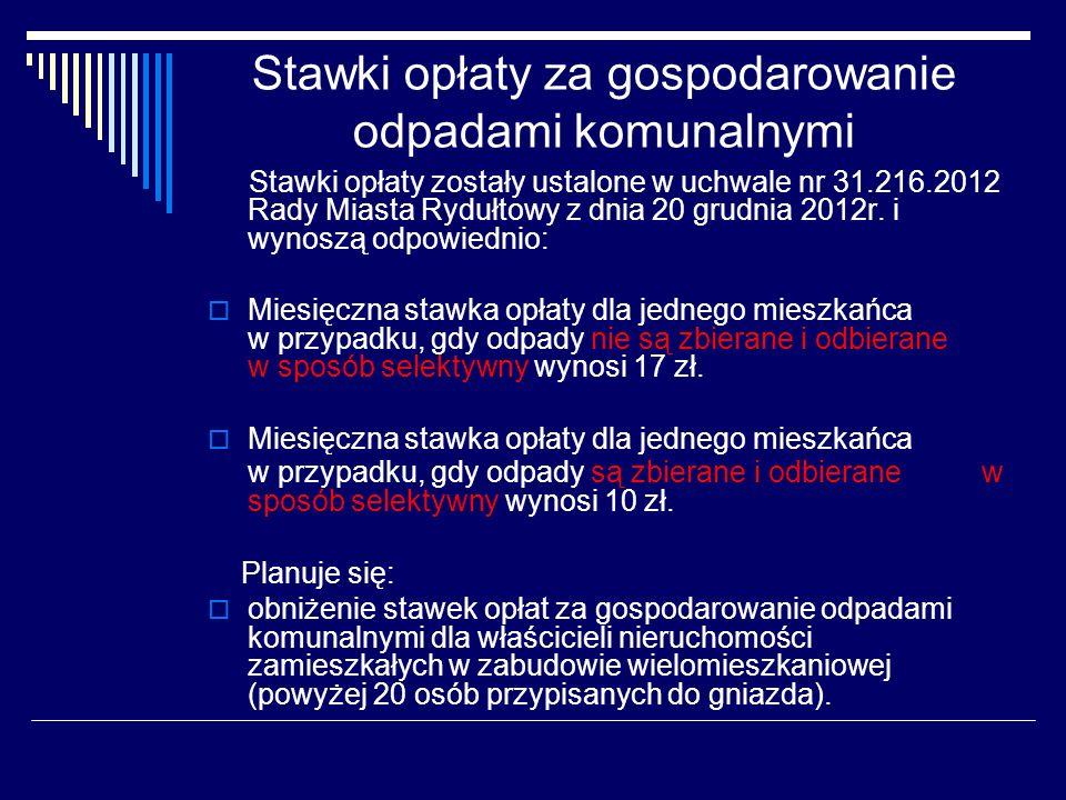 Stawki opłaty za gospodarowanie odpadami komunalnymi Stawki opłaty zostały ustalone w uchwale nr 31.216.2012 Rady Miasta Rydułtowy z dnia 20 grudnia 2012r.