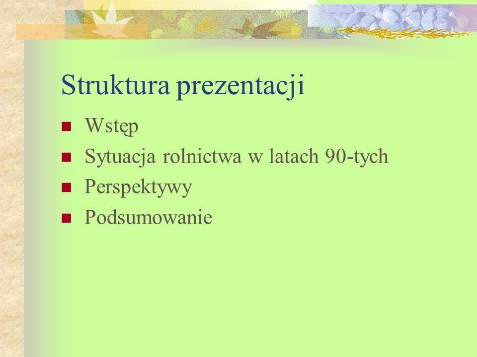 Sytuacja rolnictwa w latach 90-tych 1.Ludność wiejska a.