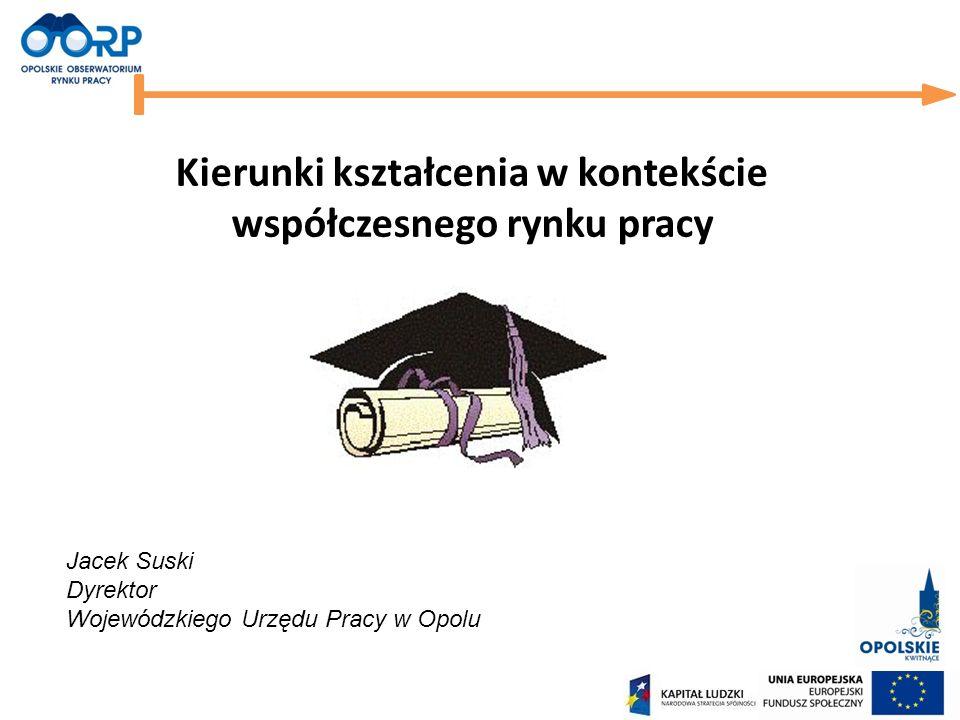 Kierunki kształcenia w kontekście współczesnego rynku pracy Jacek Suski Dyrektor Wojewódzkiego Urzędu Pracy w Opolu