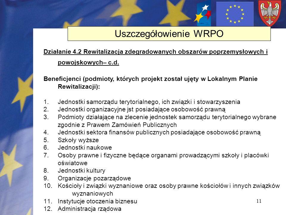11 Działanie 4.2 Rewitalizacja zdegradowanych obszarów poprzemysłowych i powojskowych– c.d. Beneficjenci (podmioty, których projekt został ujęty w Lok