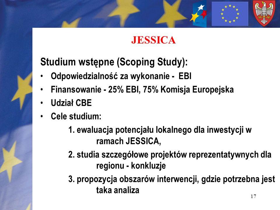 17 JESSICA Studium wstępne (Scoping Study): Odpowiedzialność za wykonanie - EBI Finansowanie - 25% EBI, 75% Komisja Europejska Udział CBE Cele studium