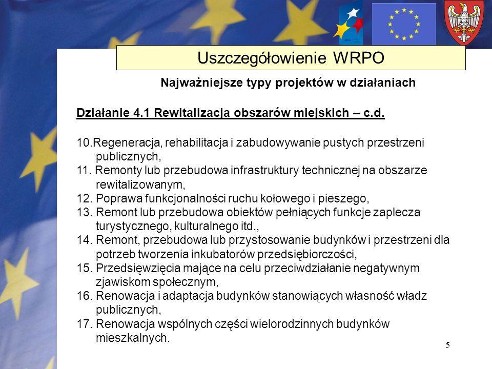5 Działanie 4.1 Rewitalizacja obszarów miejskich – c.d. 10.Regeneracja, rehabilitacja i zabudowywanie pustych przestrzeni publicznych, 11. Remonty lub